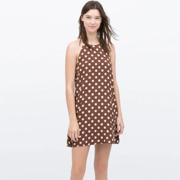 ea13291dba4 Zara Polka Dot Halter Neck Dress